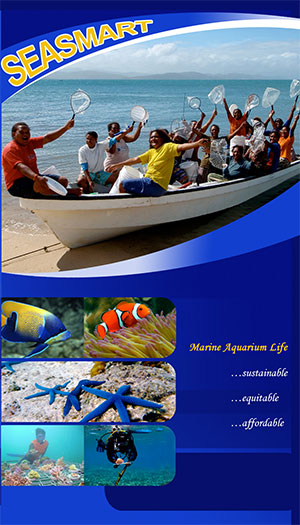 SEASMART's current brochure cover - Marine Aquarium Life - Sustainable. Equitable. Affordable.