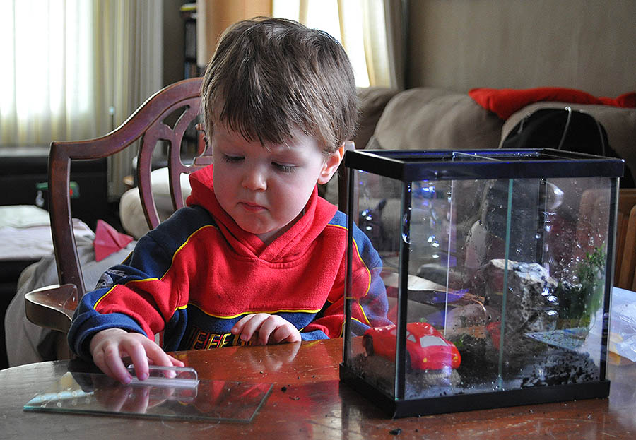 The author's son Ethan.preparing his first aquarium for his first pet fish.