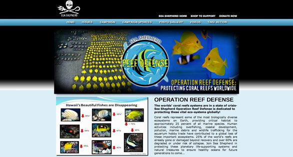 "Home page of new Sea Shepherd initiative being called ""Reef Defense."""