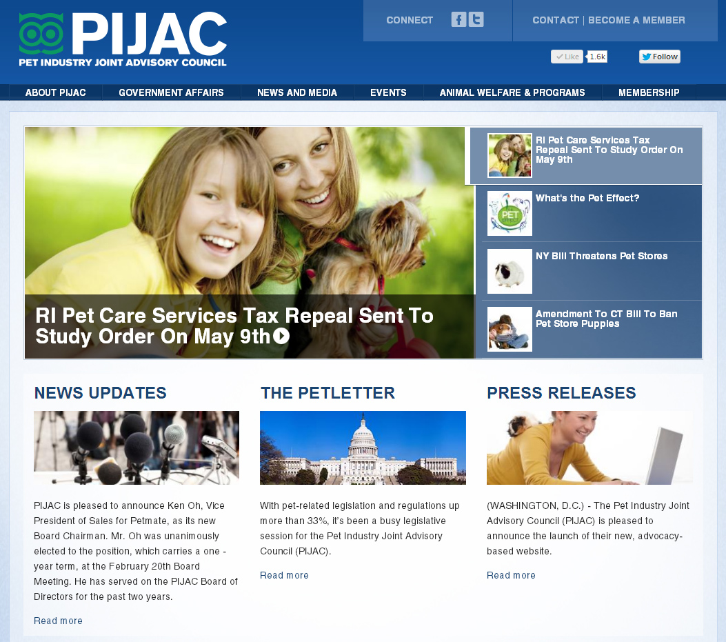 Screen capture of the new PIJAC.org website.