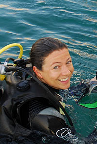 Marine biologist Francesca Benzoni, who recently described the species, Echinophyllia tarae.