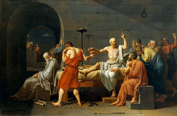 Hemlock poisoning's most famous victim, the philosopher Socrates chose to be poisoned rather than flee his native Athens in 399 B.C. Painting by The Death of Socrates, Jacque-Louis David, 1787, Catharine Lorillard Wolfe Collection, Wolfe Fund, 1931