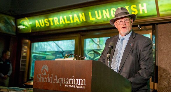 Australian Consul-General The Honorable Roger Price kept his hat on but saluted Granddad's many years under the care of Shedd's aquarists. © Shedd Aquarium/Brenna Hernandez