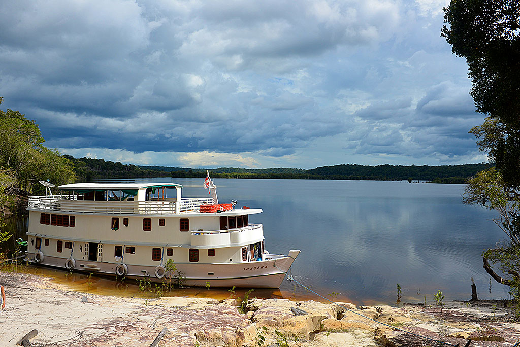 The Iracema makes a stop on the Rio Negro.
