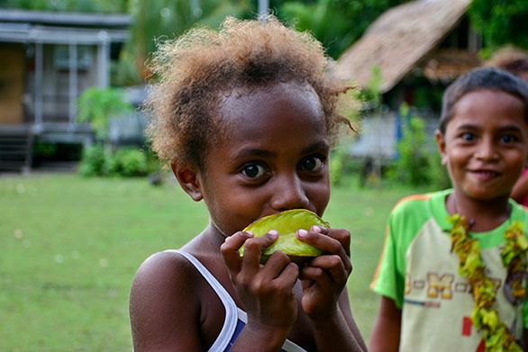 Children in a Solomon Islands fishing community.