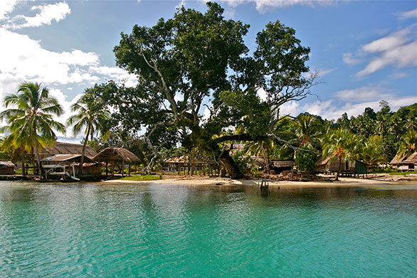 Typical reefside fishing village in the Solomon Islands.