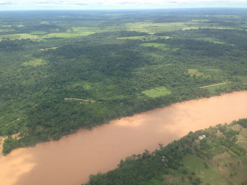 Aerial view of river Madre de dios from the plane.