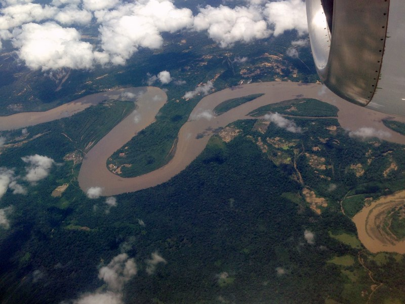 Aerial view of river Madre de dios and rainforest from the plane.