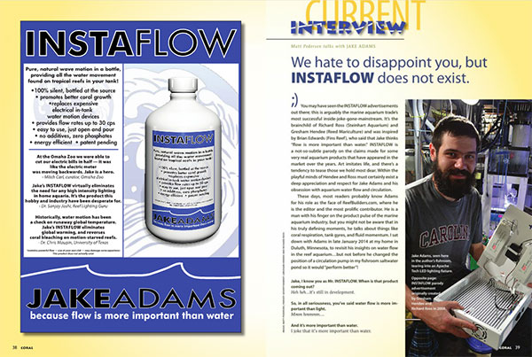 Current Interview - Matt Pedersen talks with JAKE ADAMS   CORAL Magazine, March/April 2014