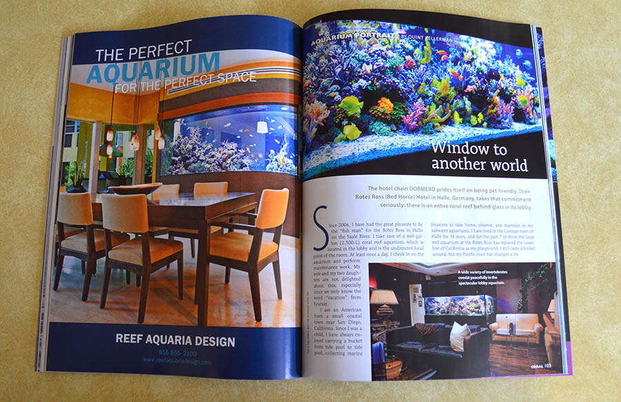 Quint Kellerman, an American with ties to the temperate tidepools of the Pacific Northwest, brings us an aquarium portrait featuring a stunning tropical reef aquarium at the Rotes Ross (Red Horse) Hotel in Halle, Germany.