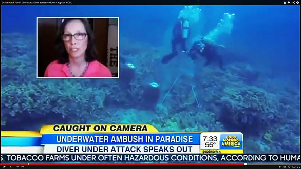 Hawaii's aquarium fishing controversies became national news when anti-fishing activist Rene Umberger says she was attacked by diver Jay Lovell who was legally collecting Yellow Tangs. Screen image from CBS Good Morning America.