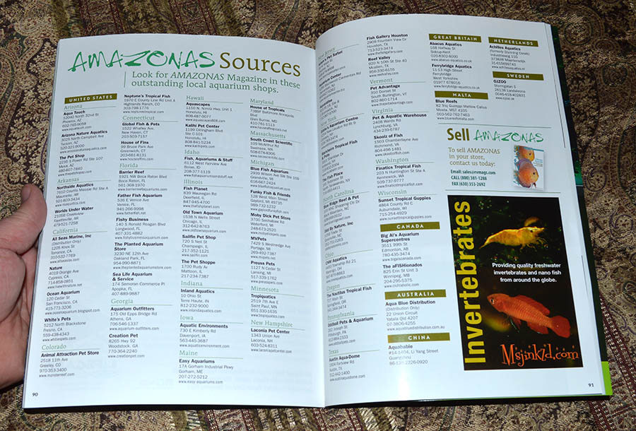 Looking for hard copies of AMAZONAS Magazine? Try the many fine local fish stores and retailers listed in our sources directory!