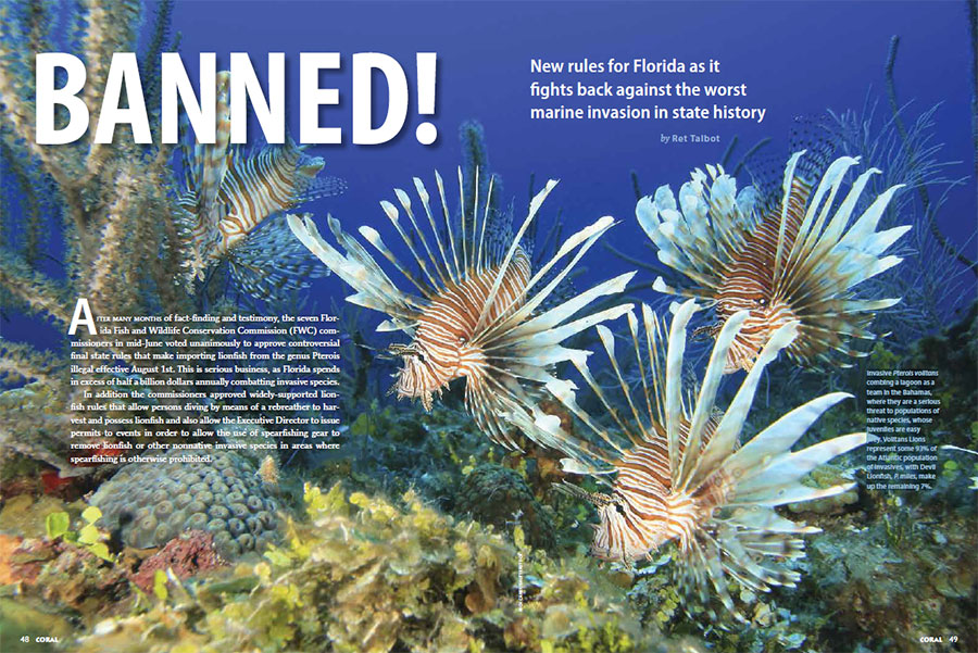 """BANNED!"" by Ret Talbot - opening spread, July/August 2014 CORAL Magazine."