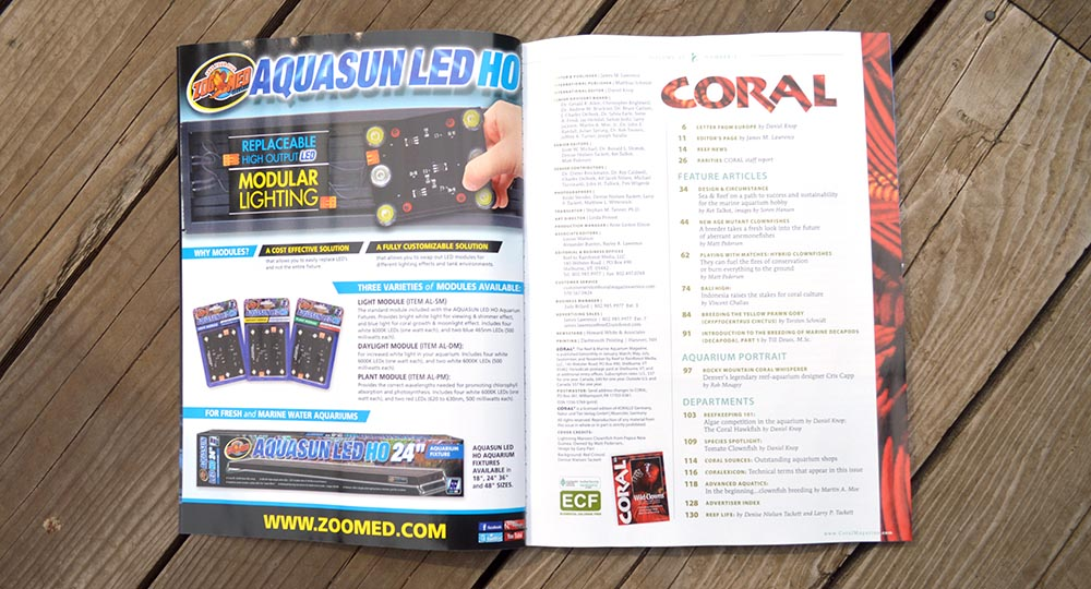 Sept/Oct 2014 Coral Magazine Table of Contents