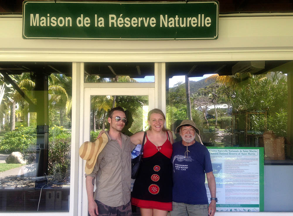 Team members Justin Credabel, Laura Birenbaum, and Dr. Eugene Kaplan, in St. Martin.