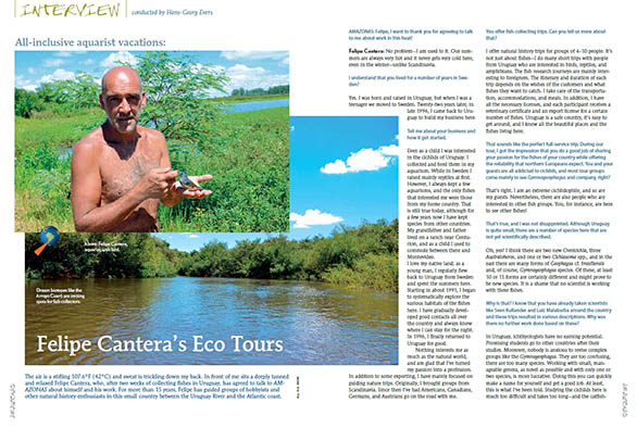 "Hans-Georg Evers interviews Felipe Cantera about the guide services he provides in Uruguay, as told in ""All-inclusive Aquarist Vacations; Felip Cantera's Eco Tours"". Download Now!"