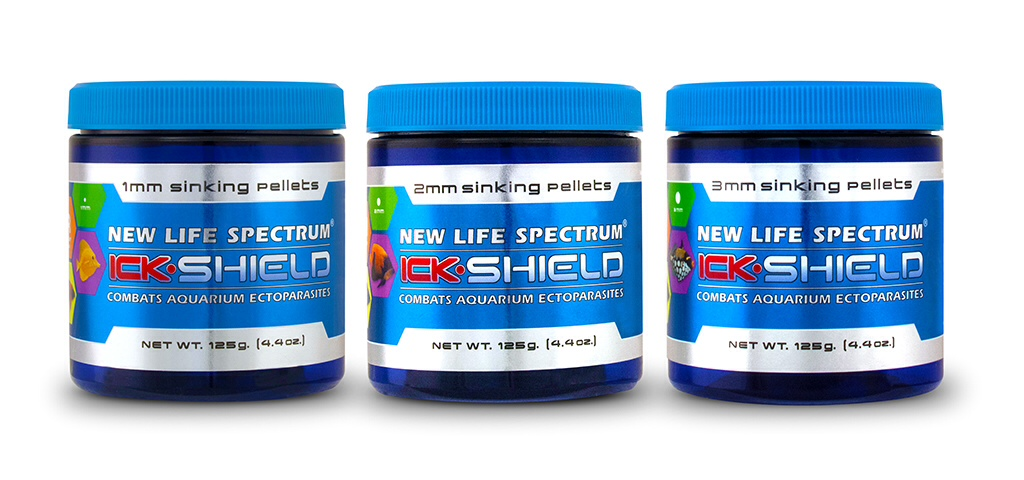 New Life Spectrum®'s new Ick-Shield medicate aquarium food.
