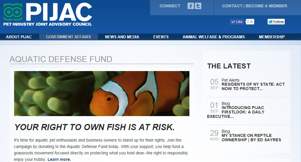 The PIJAC Aquatic Defense Fund Webpage