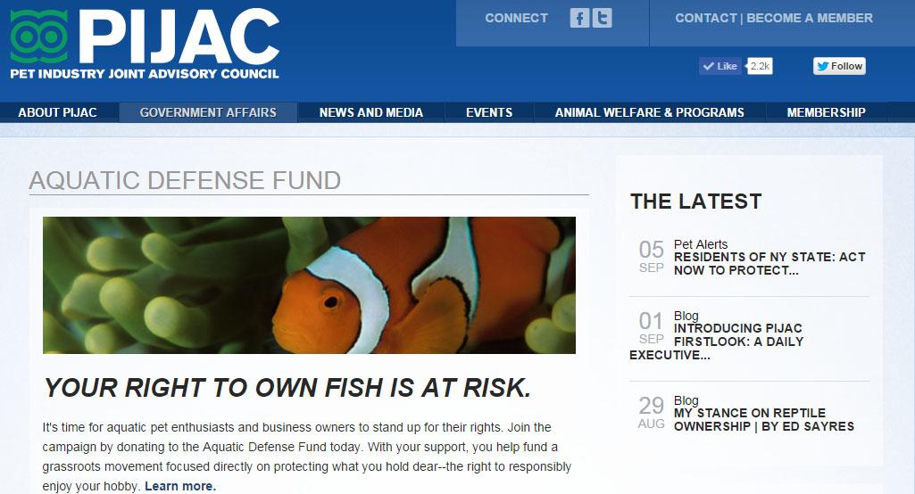 The PIJAC Aquatic Defense Fund Webpage