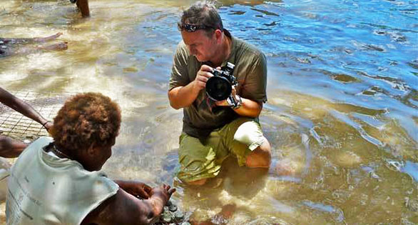 Reef to Rainforest Senior Editor Ret Talbot on assignment in the Solomon Islands. Courtesy: The Good Catch Blog.