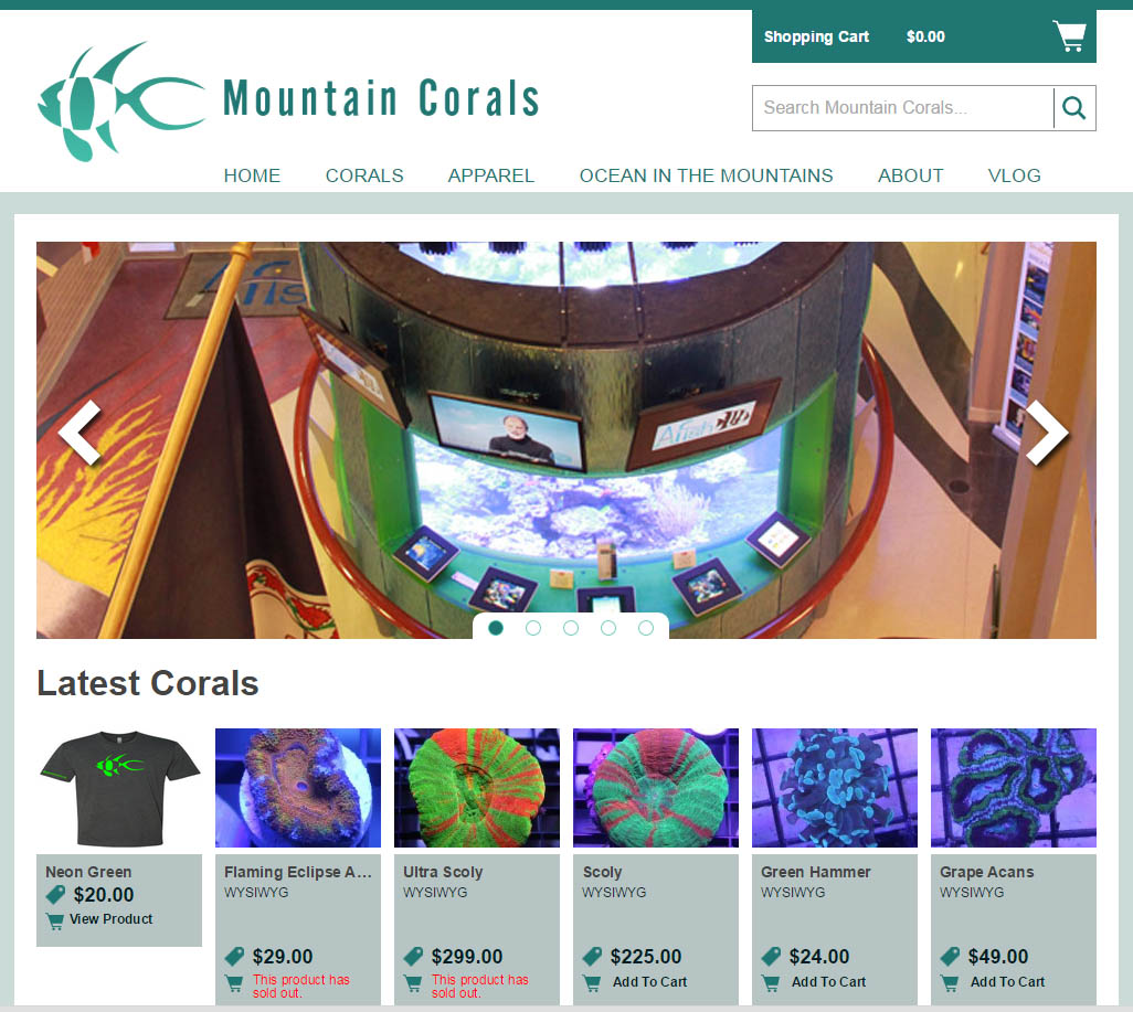 The new MountainCorals.org website.