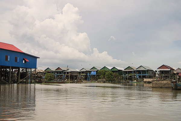 A floating village on the edge of the lake