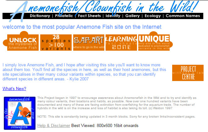 Kylie Waldon's homepage, saved from extinction via Archive.org.  Note her commentary: This Project began in 1997 to encourage awareness about Anemonefish in the Wild and to try and identify as many colour variants, their locations and habits, as possible. Now over one hundred variants have been documented and many of these are facing extinction from overfishing for the aquarium trade. The number of hybrids in the wild is on the increase and loss of habitat is also taking its toll. (c) Waldon 1997