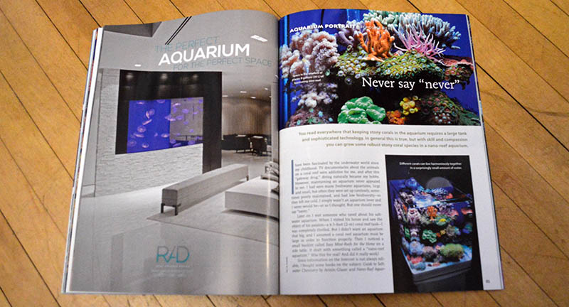 """""""Never say 'never'"""" is this issues Aquarium Portrait by Holger Biehl. We diverge from the often large format reef aquarium to feature an 8 gallon nano reef most every reader would kill to call their own!"""