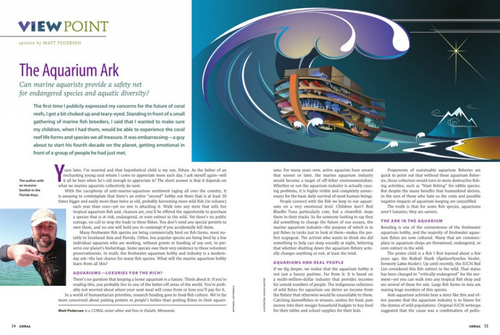 Viewpoint: The Aquarium Ark by Matt Pedersen - CORAL Magazine, May/June 2012
