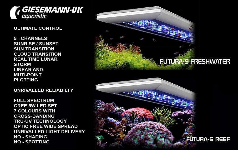Giesemann Futura LED systems are uniquely designed for saltwater reef, and freshwater planted aquaria.