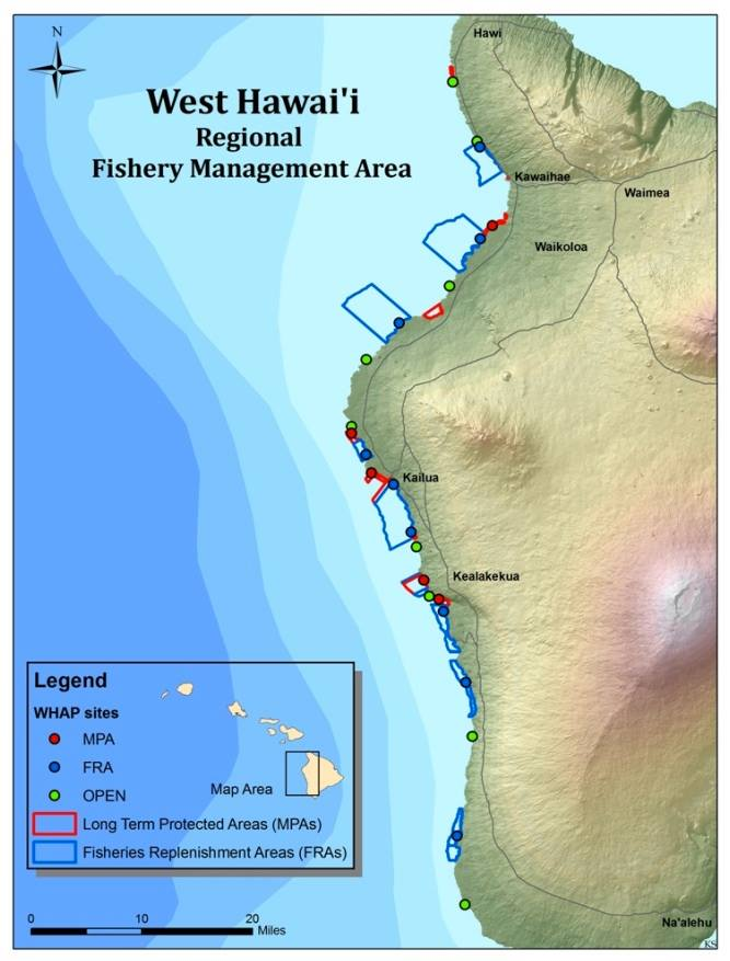 West Hawaii is the State's largest aquarium fishery and includes a network Marine Protected Areas (MPAs) and Fish Replenishment Areas (FRAs) off limits to aquarium fishing. The dots represent West Hawaii Aquarium Project survey sites. Credit: Walsh (2014)