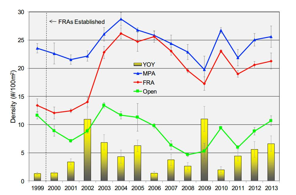 """Overall changes in yellow tang abundance (Mean ± SE) in FRAs, MPAs and Open areas, 1999-2013. Yellow vertical bars indicate mean density (May -Nov) of Yellow Tang Young-of-Year (YOY). YOY are not included in trend line data"". Source: Walsh (2014)"