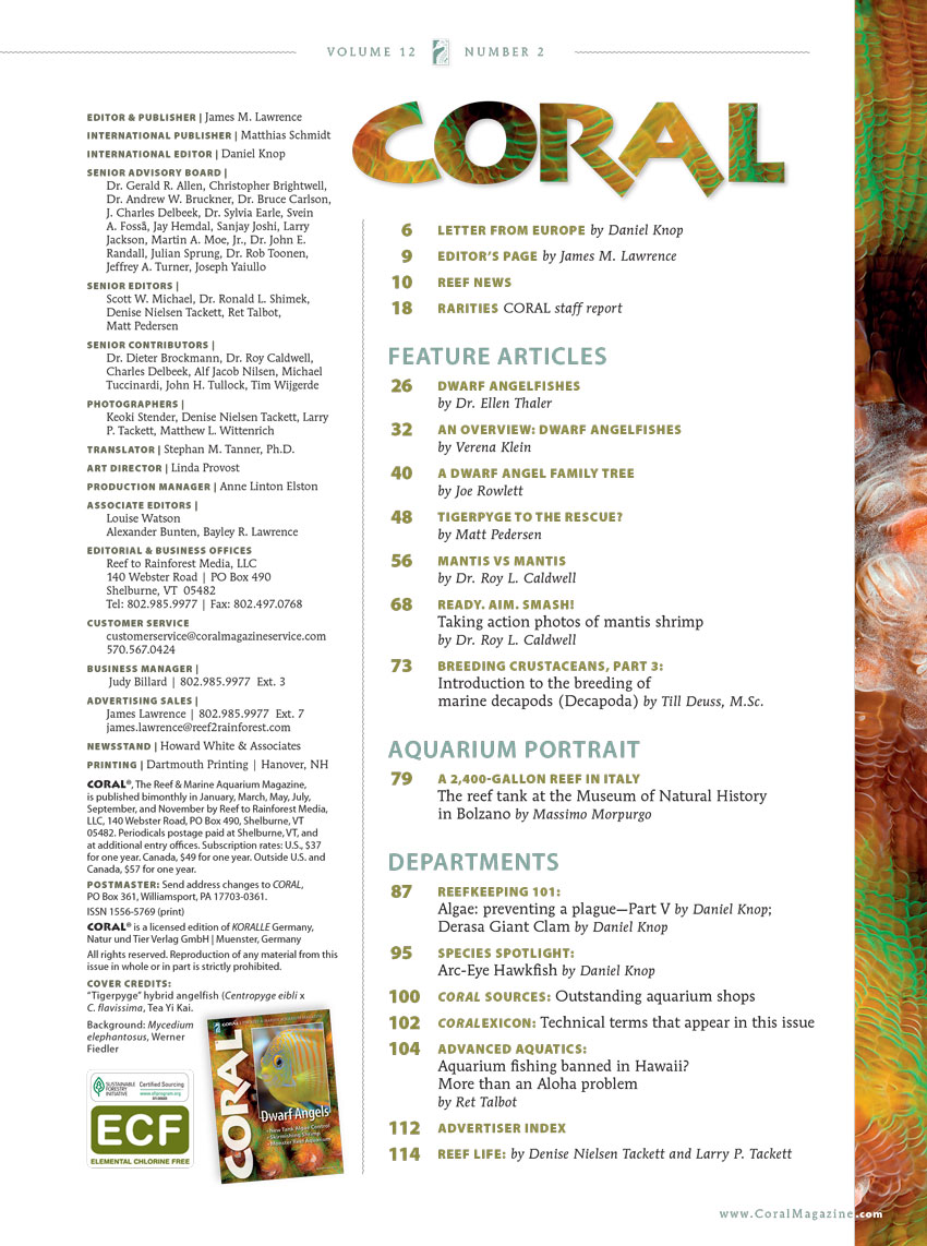 Your first look at the complete table of contents for the March/April 2015 issue of CORAL Magazine