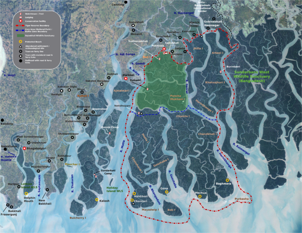 Map of the Sundarbans, with National Park and Tiger Reserve boundaries demarcated (Wikimedia Commons)