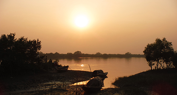 A spectacular sunset in India's Sundarbans, a vast area of tidal flats and mangrove forests