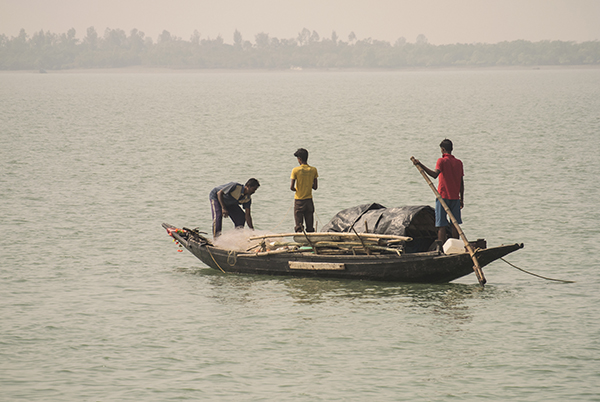 Fishermen using gill nets and traps on the outer edges of the Sundarbans