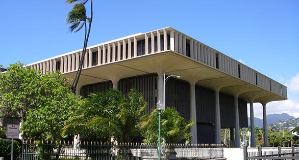 Hawaii's State Capitol, Honolulu.  Image: Wikipedia. http://www.capitol.hawaii.gov/