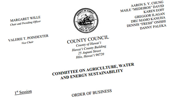 Hawaii County Council Agriculture, Water, and Energy Sustainability Committee Agenda for the February 17th meeting.