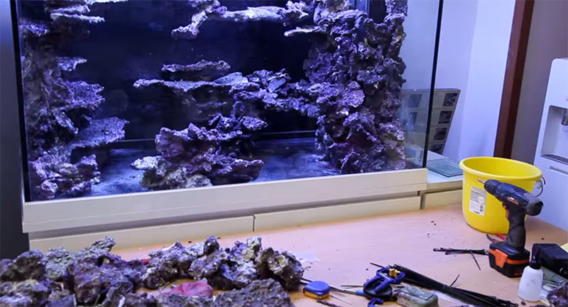 Evidence of a cordless drill and zip ties, tools of the trade in creating stunning aquascapes. - Video Still from Youngil Moon.