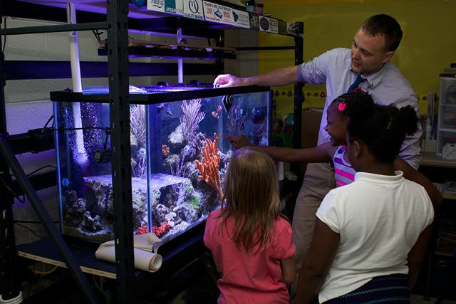The author shown discussing marine ecology with third grade students using a tank designed to be an instructional tool.