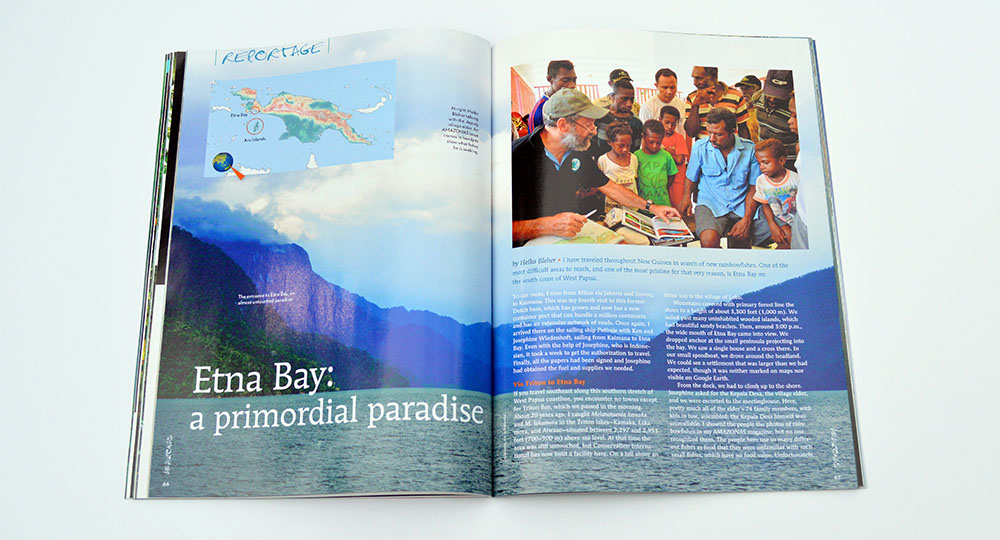 "Heiko Bleher travels to the difficult-to-reach, and pristine ""Etna Bay: a primordial paradise"" in search of new rainbowfish species."