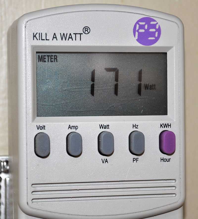 Actual watts consumed as measured by the Kill A Watt.