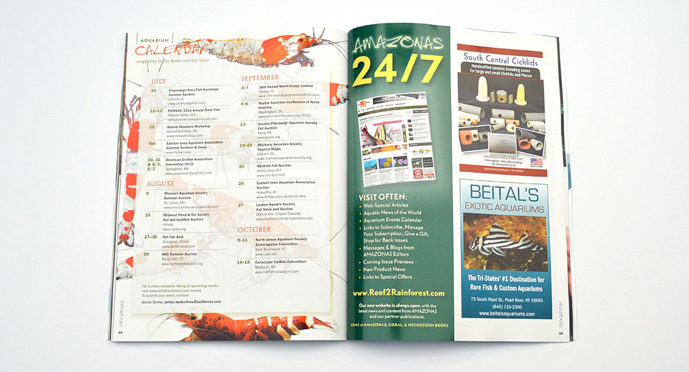 The latest AMAZONAS Magazine Aquarium Calendar. Have an aquarium event? Send Janine Banks an email to make sure we know about it!