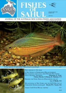The description of Melanotaenia garylangei was published in the May, 2015 issue of Fishes of Sahul, Volume 29, Number 2