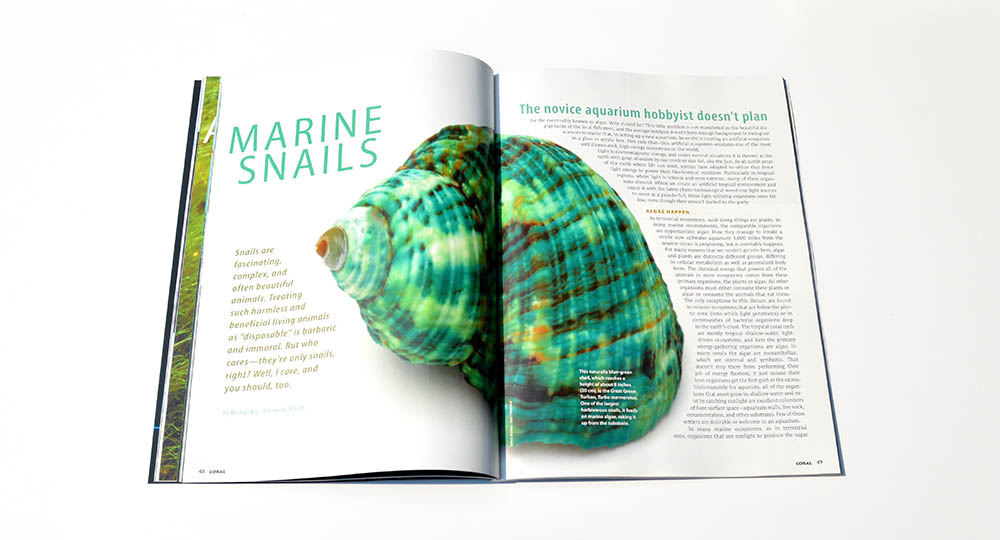 Marine Snails, by Ronald L. Shimek, PH.D., is the must-have, don't reef tank without it, guide to snails you're likely to encounter in the aquarium trade. Learn which snails will truly help with your algae problems, and which are best never added to your tank!
