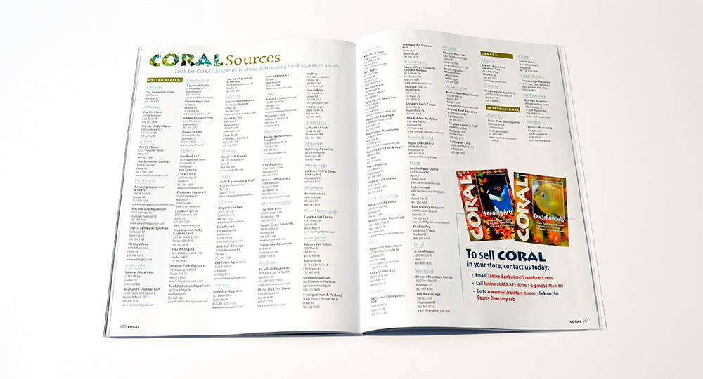 Want to see a hard copy of CORAL Magazine? Check out our many fine independent retailers! Our sources list is online at http://www.reef2rainforest.com/coral-magazine-sources/