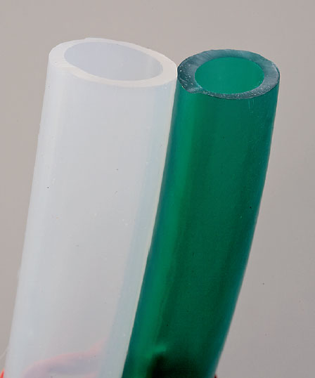 In a saltwater aquarium, silicone (white), not PVC (green) hoses should be used.