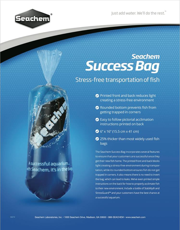 Seachem's Success Bag, a new addition to their product line, designed to reduce stress and improve shipping success.