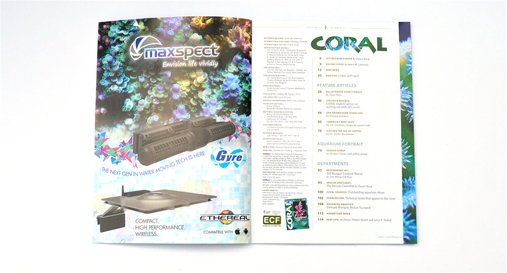 The Table of Contents for the September/October 2015 issue of CORAL  Magazine.