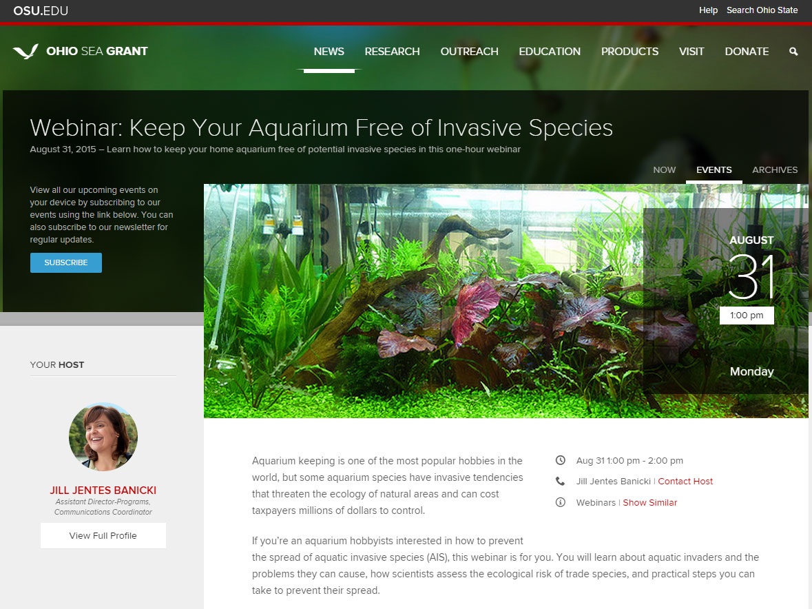 Webinar: Keep Your Aquarium Free of Invasive Species - Ohio Sea Grant